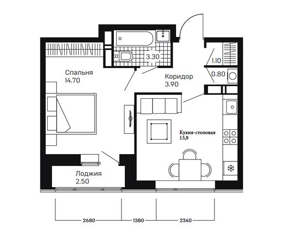 1-комнатная квартира-студия 2 этаж