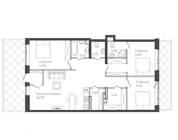 3-комнатная квартира 1 этаж
