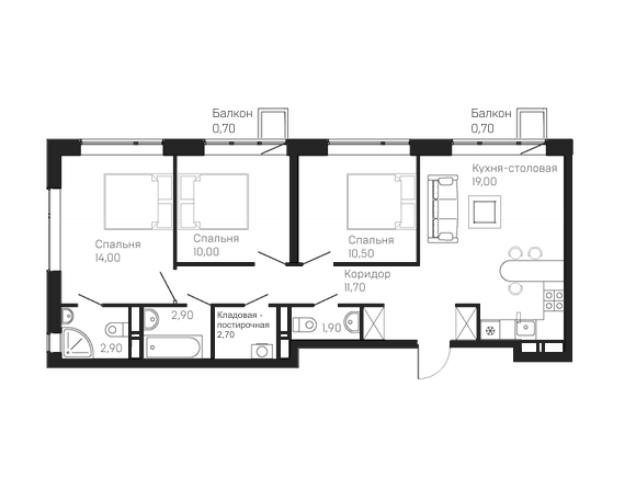 3-комнатная квартира 10 этаж