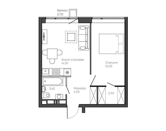 1-комнатная квартира 7 этаж