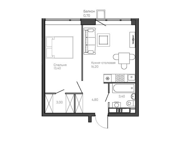 1-комнатная квартира 5 этаж