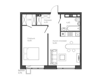1-комнатная квартира 12 этаж