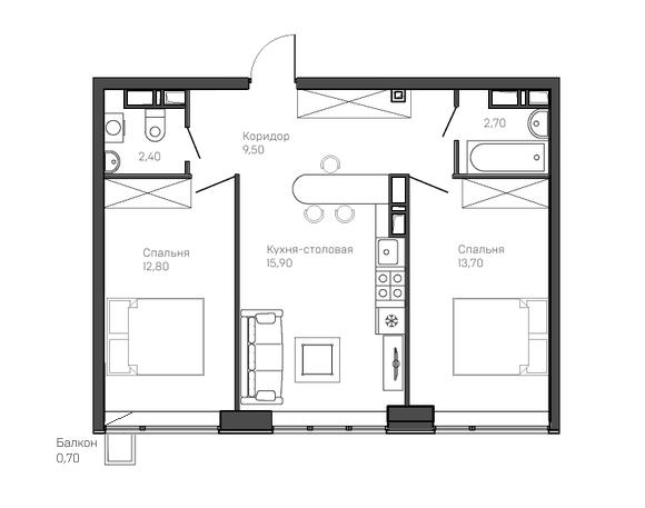 2-комнатная квартира 8 этаж