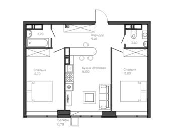 2-комнатная квартира 2 этаж