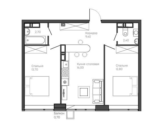 2-комнатная квартира 3 этаж