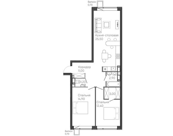 2-комнатная квартира 11 этаж