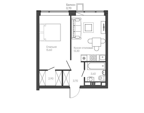 1-комнатная квартира 2 этаж