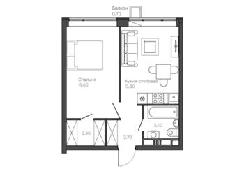 1-комнатная квартира 6 этаж