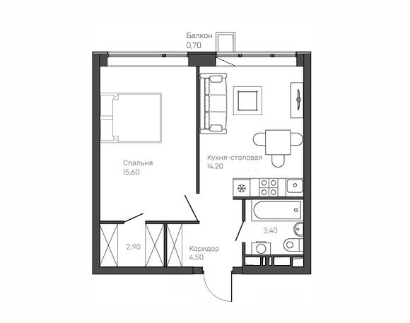 1-комнатная квартира 4 этаж
