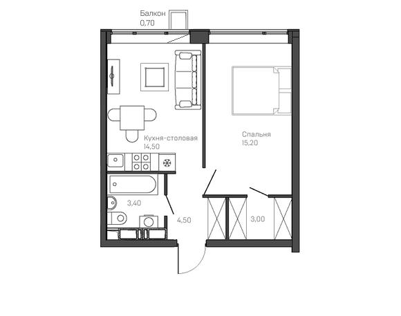 1-комнатная квартира 9 этаж