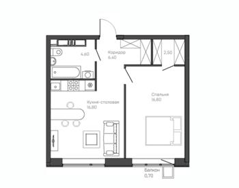 1-комнатная квартира 10 этаж