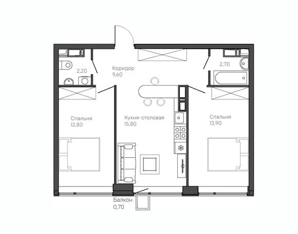 2-комнатная квартира 6 этаж