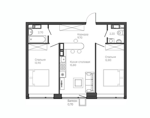 2-комнатная квартира 9 этаж