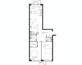 2-комнатная квартира 12 этаж